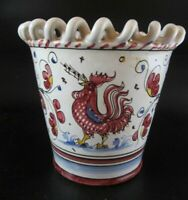 Italy Deruta Red Rooster Ceramic Pottery Pot Or Vase Signed P.V. Italy 07082