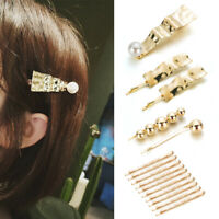 Casual Women Girls Gold Pearl Hair Clips Bobby Pins Big Wavy Hairpins Barrettes