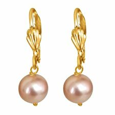 Beautiful White Shell Pearl 1 Pr Gold Plated Dangling Drop Hanging Earrings with
