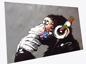 Huge Framed art Painting Canvas Print Monkey Dj ape thinker grey chimp Australia