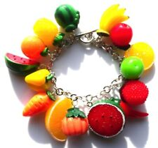 Beautiful handmade fruit and vegetable charm bracelet with gift bag