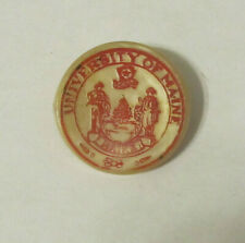 Vintage University Of Maine Plastic Clothing Button ~RARE~ Red on Cream White