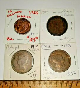 4 LOT FOREIGN WORLD COINS PORTUGAL 1913 SILVER, 1916 & 1917 FRANCE, MEXICO 1955,