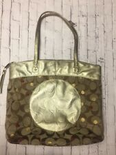 "COACH LARGE Gold ""Laura"" Secret Admirer Signature Tote Leather Purse Bag F18870"