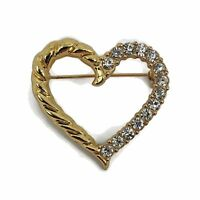 Vintage Gold Tone Rhinestones Heart Brooch Pin Clear Crystals Rope Design