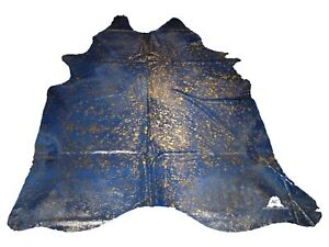 "Gold Acid Washed On Blue Cowhide - (XL7'5""x6'5"" Ft) - Premium Cowhide Leather"