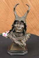 Native American Art Indian Chief Southwerstern Bronze Bust Sculpture Statue LRGE