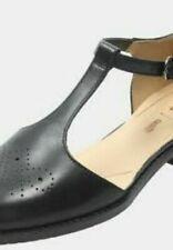 Clarks BNIB Ladies T-Bars Shoes NETLEY DAISY Black Leather UK 5.5 / 39