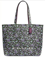 Coach 55181 Floral Posy Large Highline Tote Purple & Black