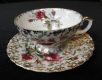 Vintage NAPCO China HANDPAINTED Cup & Saucer - PINK MOSS ROSE & GOLD Trim SD140A