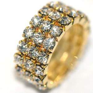 Full Crystal Womens Fashion Wedding Party Ring Adjustable Size Rings Gold Plated