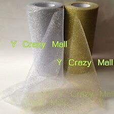 6' Gold Glitter Tulle Roll Spool Wedding Bow Decor Craft Tutu 25Y Gold