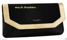 NEW LANVIN Parfums PU Leather BLACK & GOLD Trim Pouch Clutch Cosmetic Case Bag