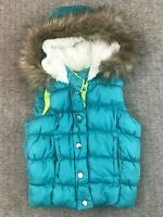 Double Deer Vest Girls XS 4/5 Puffy Quilted Faux Fur Hood Turquoise Blue