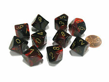 Set of 10 Chessex Gemini D10 Dice - Black-Red with Gold Numbers