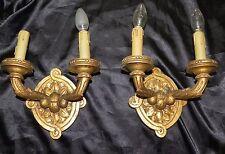 paire d' appliques en bois doré anciennes XIX ème, paire appliques 2 bras doré