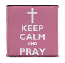 """Keep Calm And Pray Cross Jesus On Iron on 4x4""""Embroidered Patch On Vest Jacket"""