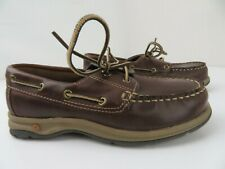 Lands End Oxfords Boat Shoes Boys Size 1 M Brown Leather 459874