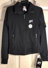 """Was $59.99 Nwt! Gk Elite """"Karma"""" Spanglez Knit Warm-Up Jacket Black Size Child S"""