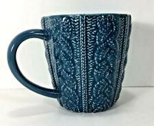 New listing New Opalhouse Sweater Weather Coffee Mug 13oz Tea Cup Blue Embossed Stoneware