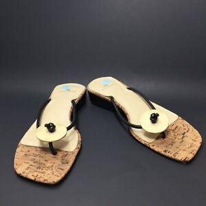 Anne Klein Black Leather Thong Slip on Slides Sandals Size 7 M