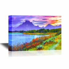 Canvas- Amazing Sunset over Grand Tetons Taken from the Oxbow Bend Turnout-16x24