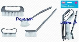 New 4 Pack KITCHEN BRUSHES Washing Up Scrub Dish Cleaner Hanging Hook Assorted ✔