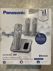 NEW Panasonic KX-TGE463S Link2Cell Bluetooth Cordless Phone w 3 Handsets Silver