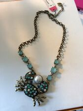 S45 Betsey Johnson Brass Tone Crab necklace BP 35