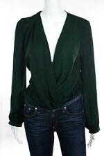 Haute Hippie Dark Green Chiffon Blouse Top Size Extra Small