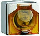 Clipsal INDUSTRIAL APPLIANCE INLET 500V 5-Round Pins, Angled, Orange- 10A Or 40A photo