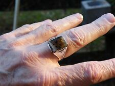 VINTAGE  CABOCHON  CHOICE PICTURE AGATE Men Sterling Ring SZ11.75 Not Scrap