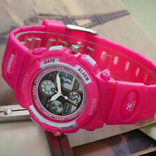 OHSEN Children Girl Date Rose Red 32mm Case Sport Digital Quartz Wrist Watch New