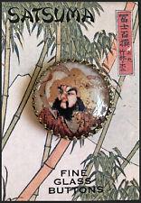 "SAMURAI WARRIOR Glass Dome BUTTON 1 1/4"" VINTAGE SATSUMA ART"