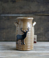 Pottery Jug with Deer Brown Ceramic Vase Rustic Lodge Decor 7 x 4 inches