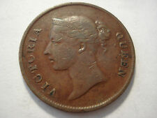 India Straits 1862 Cent Copper Coin