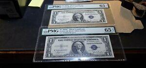 2 Consecutive $1 1935 C Silver Certificate B-E Block PMG GEM 65 EPQ