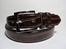 """Men Leather Belt Brown with Silver Buckle L 38 - 40"""" #1050B"""