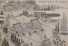 1907 JAPAN JAPANESE TOURIST PRINT ~ BUDDHIST TEMPLE OF IKEGAMI