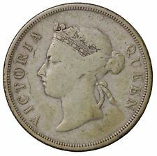1887 British Straits Settlements Silver 50 Fifty Cents Queen Victoria KM#13