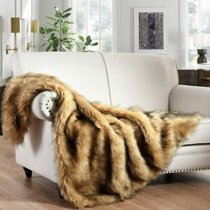50 X 60 Luxury Plush Faux Fur Throw Blanket, Long Pile Golden Camel Black Tipped