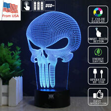 Punisher Skull 3D Acrylic LED Night light 7 Color Touch Table Desk Art Lamp Gift