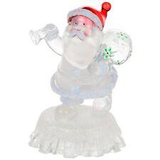 New Xmas Ice Light Up Colour Changing LED Santa With Sack Christmas Ornament