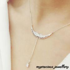 Sterling Silver 925 Necklaces Zircon Angel Wings Necklace Drop  Women Chain SALE