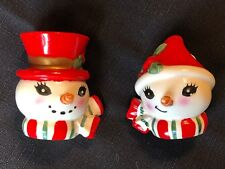 Vintage Lefton Snowman Head Salt & Pepper Shakers