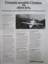 12/1972 PUB CESSNA AIRCRAFT AVION CITATION BUSINESS TURBOPROP ORIGINAL AD