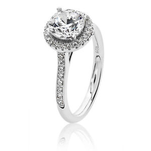Silver & Co Round Halo CZ Engagement Ring
