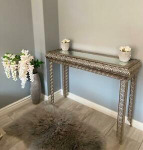 METALLIC SILVER MOROCCAN EMBOSSED METAL GLASS CONSOLE SIDE HALL TABLE (GZ420)
