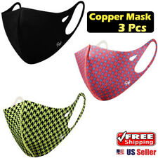 【 3 Pack 】 SW COPPER INFUSED FABRIC FACE MASK, Washable, Resuable, Fashionable