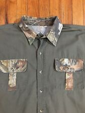 Men's WALLS Fishing Apparel Green/Camo Trim Long Sleeve Button Up Shirt Size XL